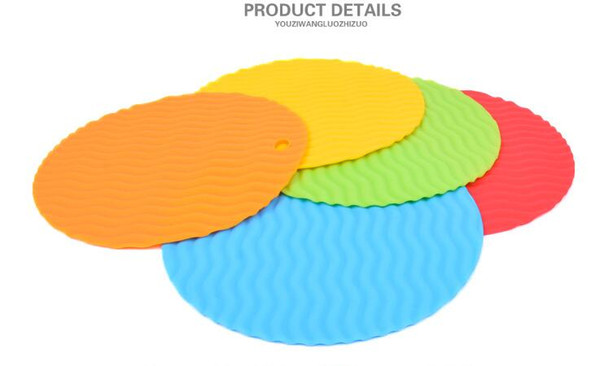 colorful Heat Resistant Silicone Table Mat Round placemat das Set 4 colors OD 19.5CM&14.5cm choose for Kitchen Tool Use golves