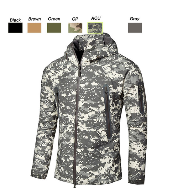 best selling Outdoor Sports Woodland Hunting Shooting Tactical Camo Coat Combat Clothing Camouflage Windbreaker Softshell Outdoor Jacket P05-203