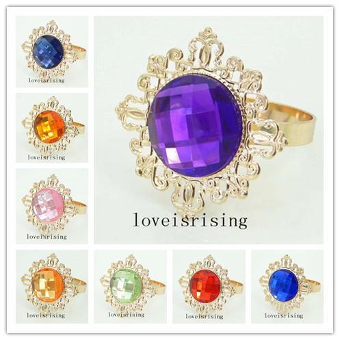 22 Colors UPick-50PCS/Lot Vintage Style sparkling GEM Gold Metal Rings Napkin Rings Wedding Party Table Decor Napkin Holder