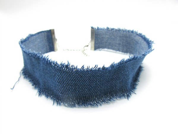 2017 New Retro Wide Denim Burrs Choker Necklace Fashion Collar Necklace Personality Exaggerated Torques Free Shipping