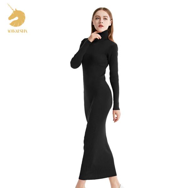 donna inverno maglioni di cachemire auntmun donne maglioni pullover di alta qualità femminile lungo trenleneck caviglia lunghi maglioni vestito