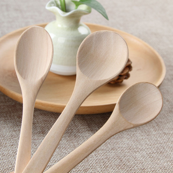 top popular Wood Soup Spoon Mini Wooden Teaspoon Utensil Coffee Ice Cream Spoon Wholesale 2021