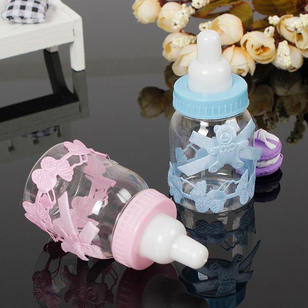 Al por mayor-12pcs caja de regalo de la ducha de bebé botella Blue Boy Pink Girl Bautismo bautizo Brithday Favores de partido favores de regalo caja de la botella de caramelo