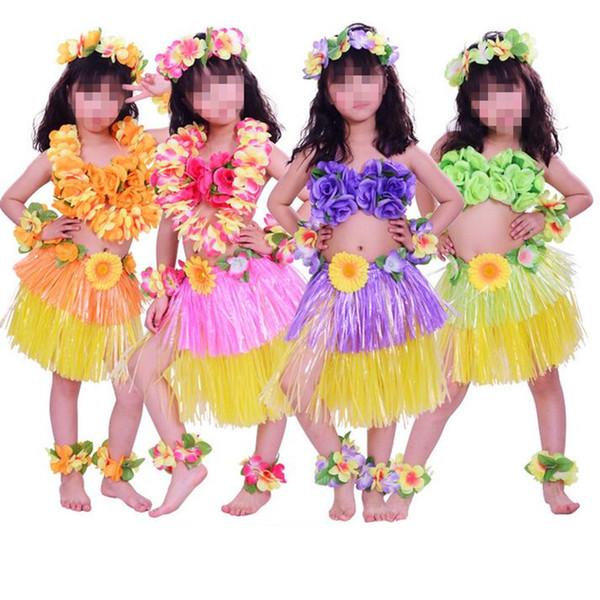 FLOWER BRA HAWAIIAN FANCY DRESS MULTI-COLOUR SHORT HULA SKIRT 40CM LEI SET