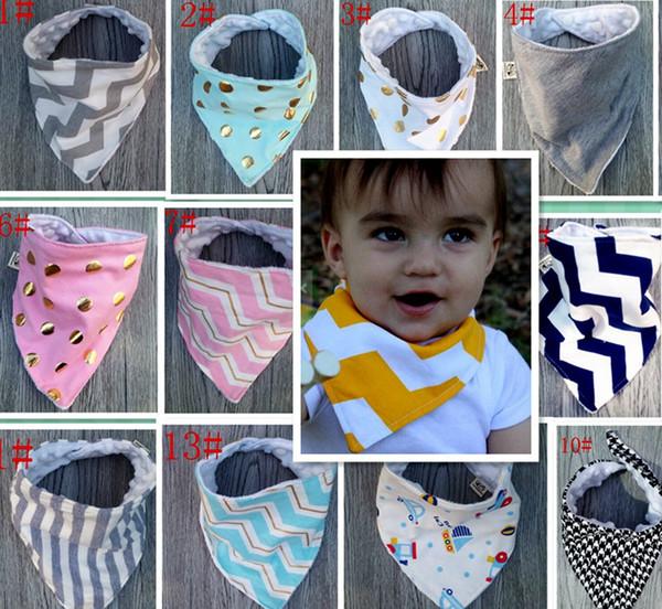 best selling INS XMAS 2Layer baby bibs new handmade baby waterproof triangular bandage Pure cotton double triangular bandage Buckle baby drool towel bibs