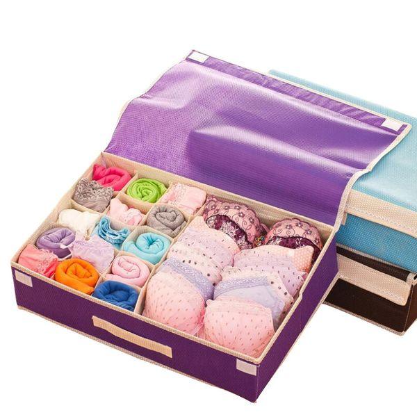 Free Shipping Bra Organizer Storage Drawers Underwear Storage Boxes Non-woven Covered Bra Combo Grid Wardrobes Organizers for Underwears 1pc
