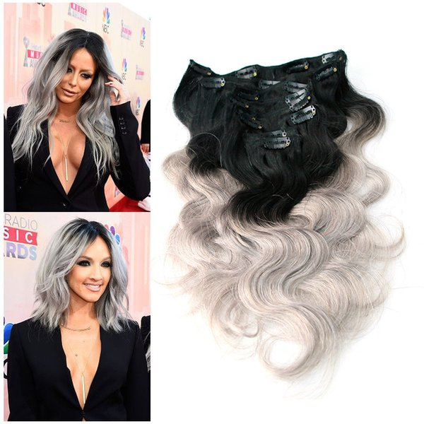 7A Top Ombre Clip In Hair Extensions 2 tone 1B/Silver Grey 100g Ombre Peruvian Clip In Human Hair Extensions 8Pcs/set