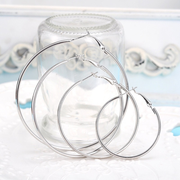 top popular Top quality 925 sterling silver golden exaggerated hoop earrings large diameter 6-10CM fashion party jewelry pretty cute Christmas gift 2019