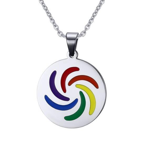lover pendant Men Women Round Rotation Rainbow Enamel Pendant Necklace in Stainless Steel Sliver Gay & Lesbian Pride with Free Chain Jewelry