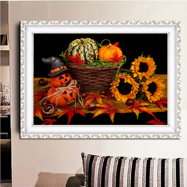 square wall deor.htm 2019 high quality diy pumpkin   sunflower embroidery mosaic  diy pumpkin   sunflower embroidery