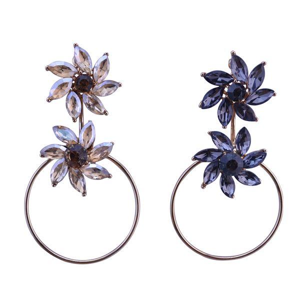 idealway DIY Korea Gold Plated Crystal Flower Shape Dangle Earrings Women Jewelry