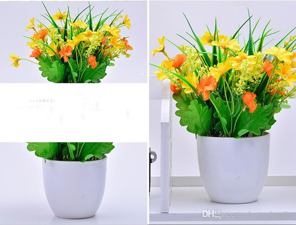 One Set Artificial Flower And Gardening Flower Pots Small Mini Colorful Plastic Nursery Flower Planter Pots Garden Deco Gardening Tool
