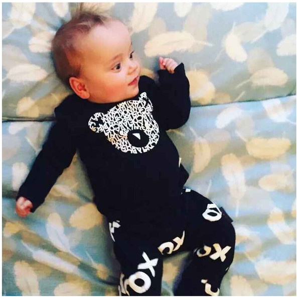Baby Boys Cotton Black Long T Shirts+ Pants Suits Infant Toddler Bear Design Tops Bottom Clothing Sets Children Kids Tees Harem Trousers Set