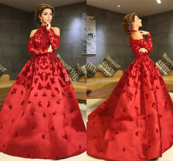 Luxury Red Myriam Fares Evening Dresses High Neck Halter Long Sleeves Appliques Beaded Satin Ball Gown Celebrity Dresses Formal Prom Dresses