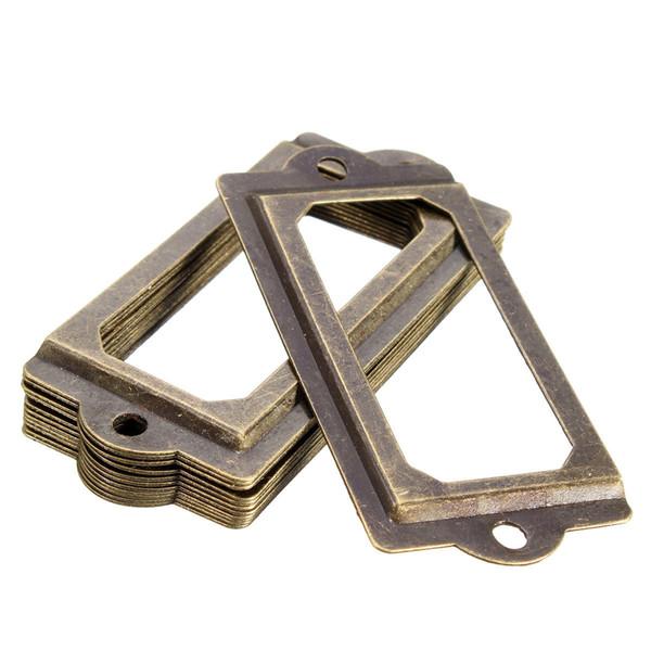 top popular 12Pcs Antique Brass Metal Label Pull Frame Handle File Name Card Holder For Furniture Cabinet Drawer Case 2019