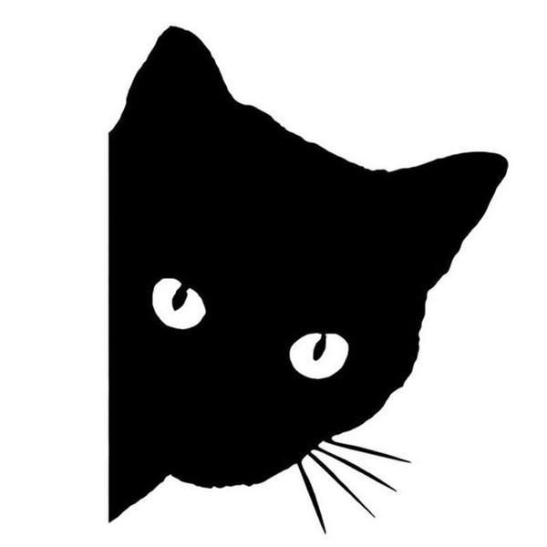 12*15CM CAT FACE PEERING Car Sticker Decals Pet Cat Motorcycle Decorative Stickers Car Window Decals