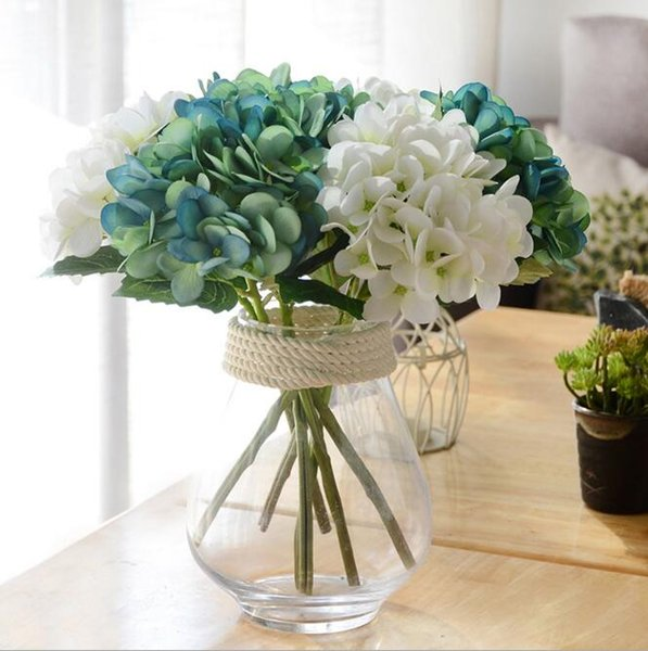 New Design Artificial Hydrangea Flower Head 34cm Fake Silk Single Real Touch 8 Colors for Wedding Centerpieces Home Party Flowers