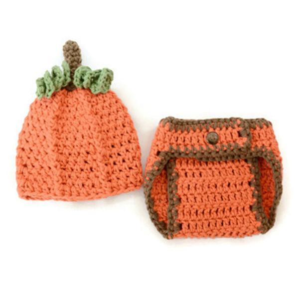 Crochet Baby Pumpkin Set,Handmade Knit Baby Boy Girl Halloween Costume,Pumpkin Hat Diaper Cover Outfit,Newborn Infant Photo Prop Shower Gift
