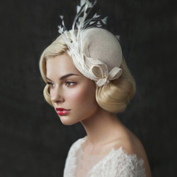 best selling Vintage Cute Ivory Linen Feather Bridal Hat with Clip Fine Garden Wedding Hair Accessory Bride Mother Special Occasion Party Holiday Hats