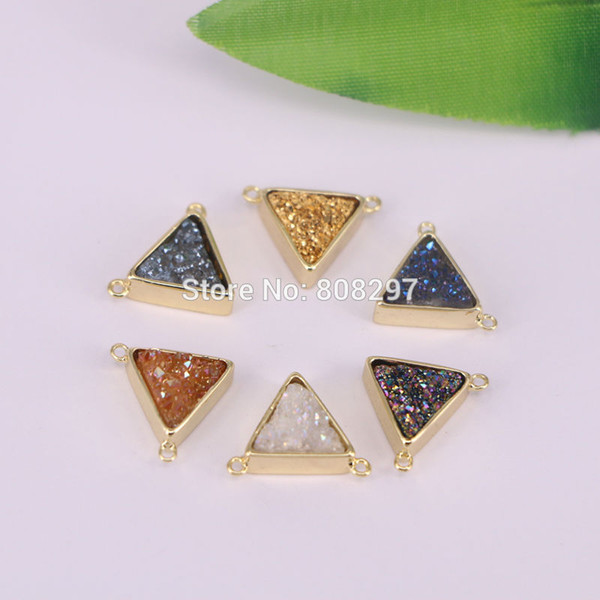 8Pcs Gold Color Triangle Natural Titanium Druzy Connector Double Bails Drusy Gem stone Geode Jewelry DIY Finding