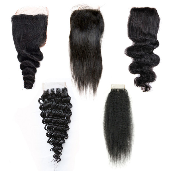 4x4 2x6 Lace Closure Virgin Brazilian Human Hair Free Middle Three Part Closure Straight Body Loose Deep Wave Curly Natural Color 8-20 inch