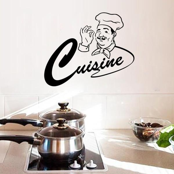 Großhandel Happy Master Chef Küche Zimmer Wand Aufkleber Home Decor Küche  Monogramm Zitat Wand Aufkleber Esszimmer Tapete Poster Wand Kunst Wandbild  ...