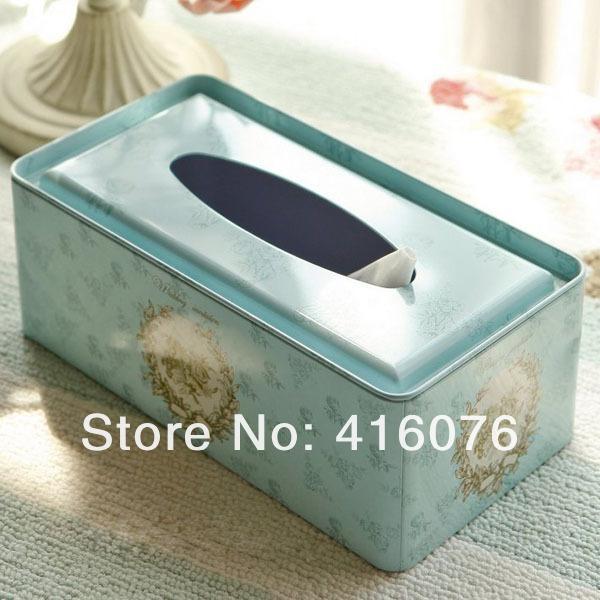 Wholesale- Vintage Metal Ficial Paper Case Napkin Holder Tissue Box Noble Style Fresh Light Blue Color L size Gift Home Decoration T1249