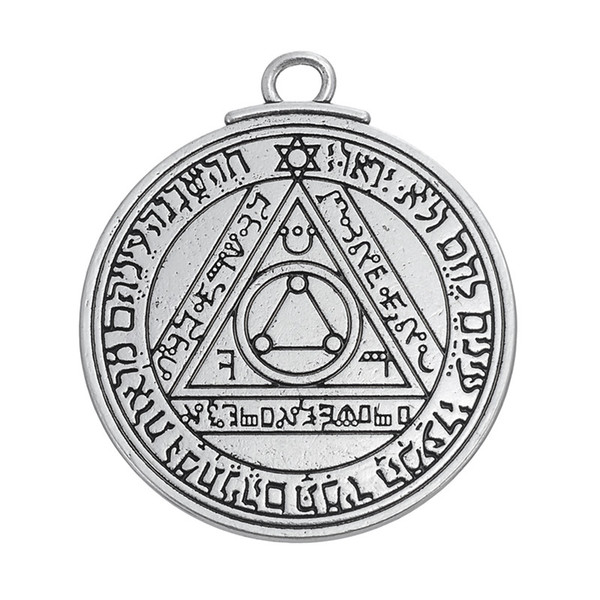 Wholesale- Pentacle of the Sun Key of Solomon talisman charms pendants jewelry stamps alphabet religious items vintage jewelry