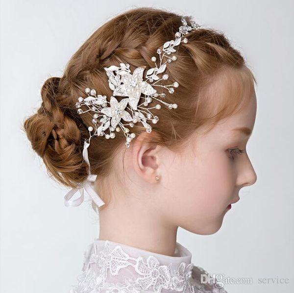 Handmade Pearls Crystal Gold Silver Girls Head Pieces Children Hair Flower Christmas Party Wedding