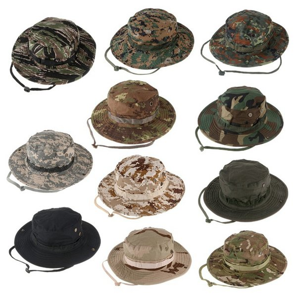 5a2a68aa6b585 Military Camouflage Hidden Jungle Hunter Hat Wide Brim Men Caps Bucket Hat  Outdoor Sunproof Hat Camping