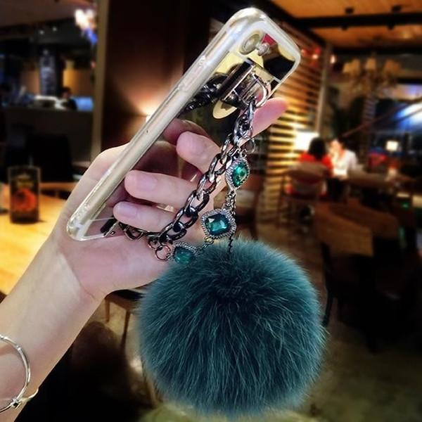 For Huawei p8 p9 p10 p20 lite plus mate 9 10 pro Luxury Fashion Diamond Bracelet chain Fox soft pompom fur ball mirror case