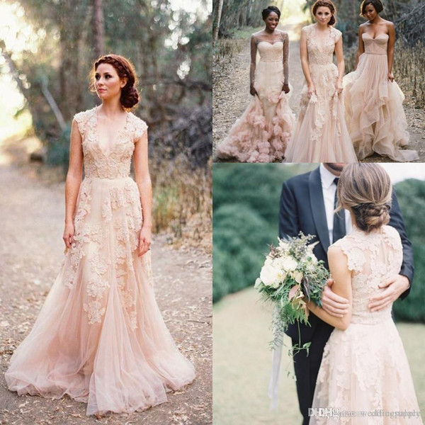 Vintage 2018 Bohemian Blush Lace Sheer Wedding Dresses Ruffles Bridal Gowns Cap Sleeve Deep V neck Layered A-Line Modest Bridal Gowns
