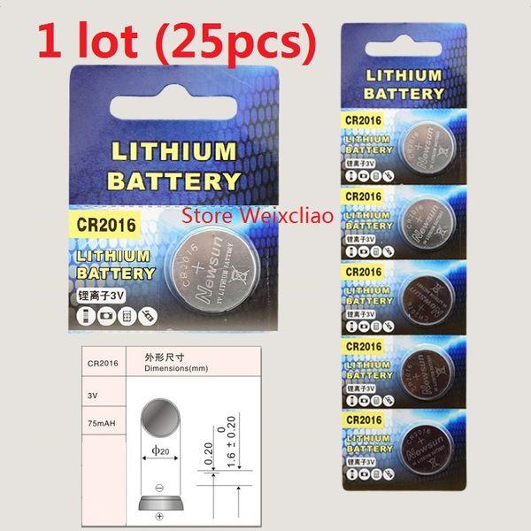 25pcs 1 lot CR2016 3V lithium li ion button cell battery CR 2016 3 Volt li-ion coin batteries Free Shipping