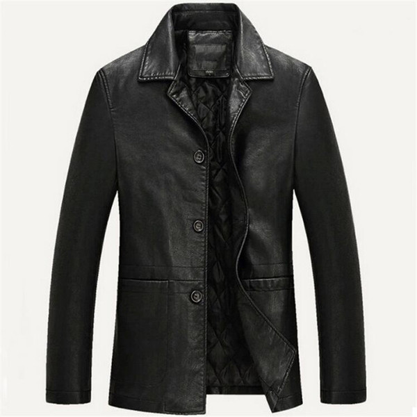 Wholesale- Leather Jacket Men Spring Autumn Brand Soft PU Motorcycle Jaqueta Couro Masculin Bomber Jacket Faux Leather Fur Coat Suede 4XL