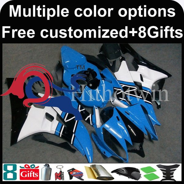 blue white motorcycle cowl for Yamaha YZF-R6 2006-2007 06 07 YZFR6 2006 2007 06-07 ABS Plastic Fairing