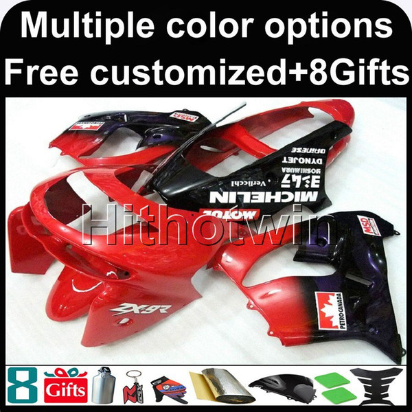 23colors+8Gifts red kit motorcycle cowl for Kawasaki ZX9R 1998-1999 ZX-9R 98 99 ABS Plastic Fairing