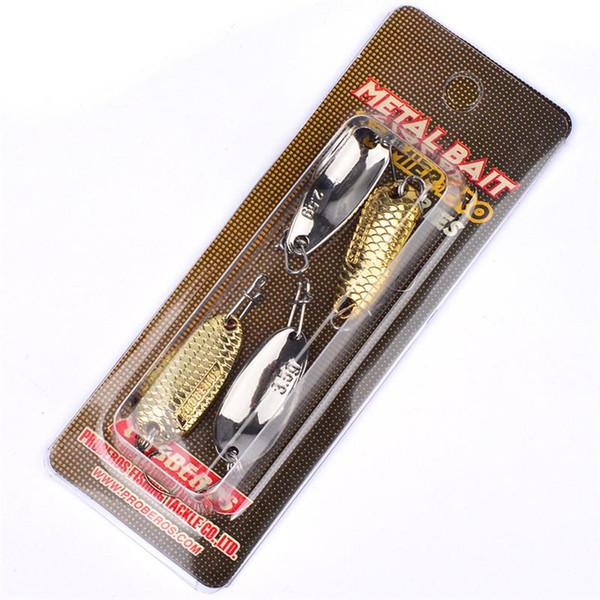 Spoon Bait set 2.5g/2.7cm 3.5/2.7cm Silver+Gold Atificial Metal lure sets Freshwater fishing bait hooks