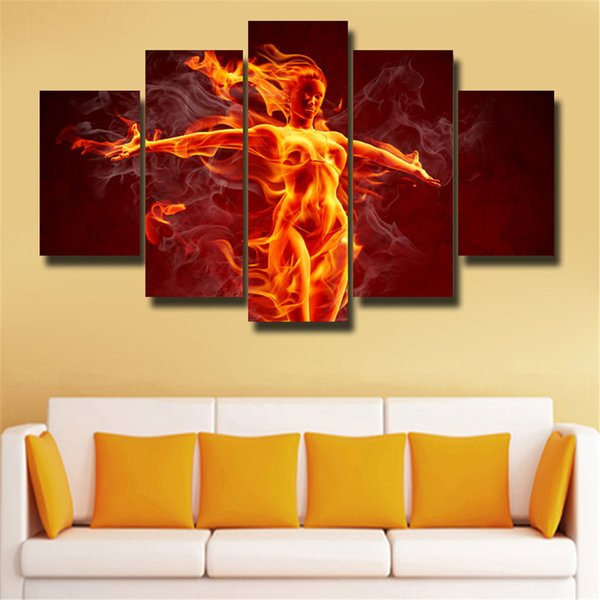 5p modern Home Furnishing HD picture Canvas Print art wall of the sitting room children room decoration theme --Flame woman