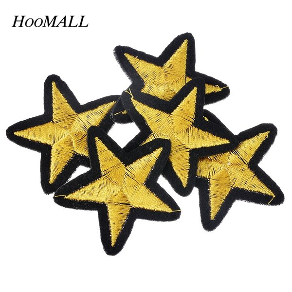 top popular Brand 20Pcs set Gold Star Embroidered Iron On Badges Patches For Clothing Cartoon Motif Applique Sticker For Clothes 2021