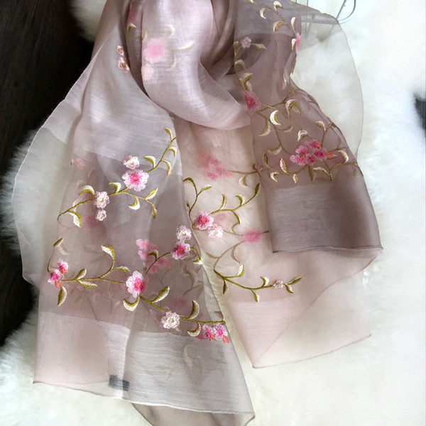 2019 discoloration women's fashion silk cotton scarf shawl collar girl pop wind embroidery may the flowers free shipping in China