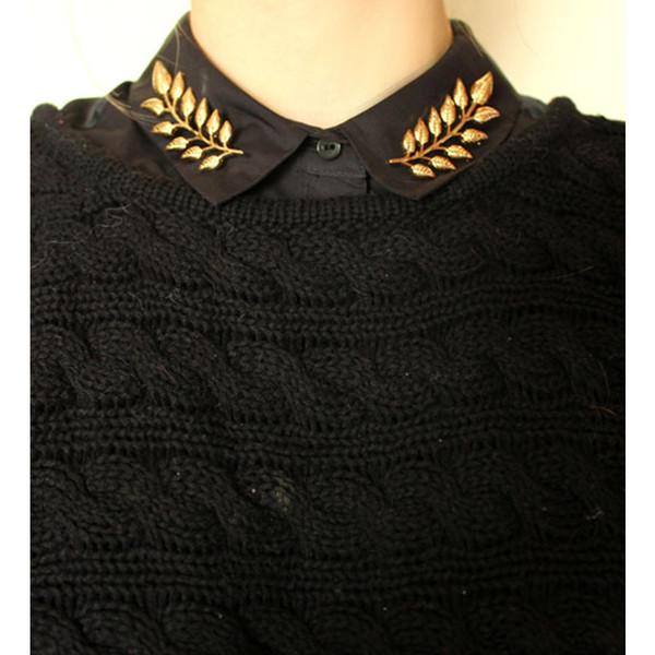 Vente en gros-Nouvelle Arrivée Chemise Colliers Clips Broches Bijoux De Mode Blé Vintage Broche Or Argent Feuille Pin Femmes Et Hommes Broches CY055