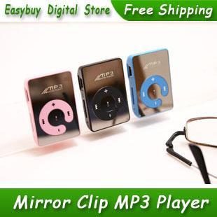 Venta al por mayor- 20pcs / lot Nuevo estilo de alta calidad Mini Mirror Clip Card Reader Reproductores de música MP3 compatibles con tarjeta Micro SD / TF 6 colores