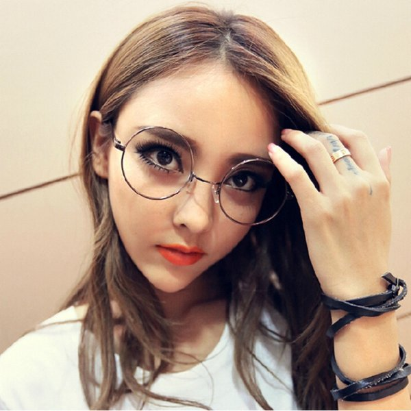 Atacado- 2016 New Women Man Unisex Óculos Redondos Metal Frame Designer Limpar Lens Nerd Geek Eyewear
