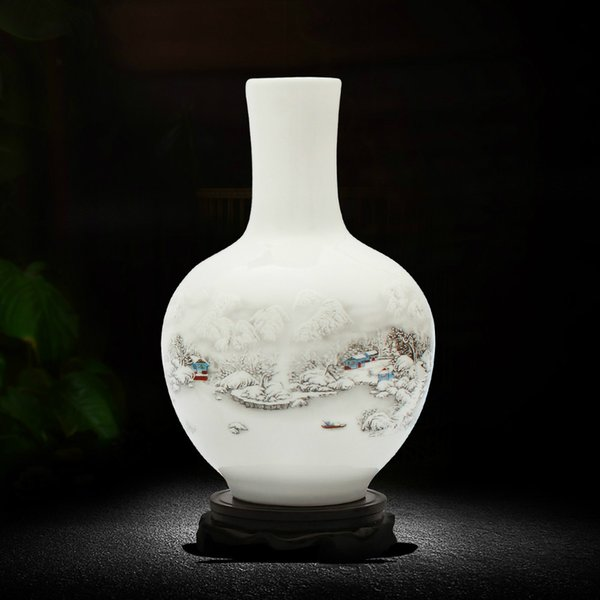 Antique Snow Scenery Vase Ancient Ways Jingdezhen Ceramic Vase For