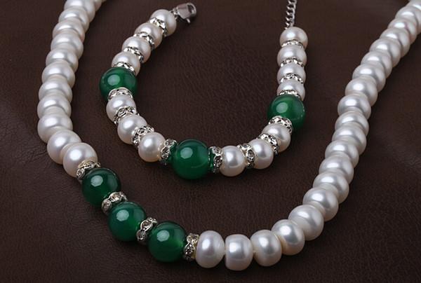 Fine Pearls Jewelry 18inches Mode 8-9mm weiße Perle grüne Jade Perlen Halskette Armband Senden Sie Mutter Geschenk