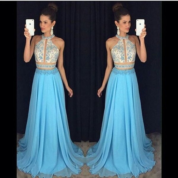 top popular Charming Halter Neck Chiffon Long Evening Dresses Beaded Formal Evening Gowns Prom Party Dresses Special Occasion Dresses 2019