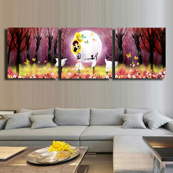 3 Pcs/Set forest moon Wall Art Fruit Painting For Home& Kitchen Decorative Cheap Art Picture Paint on Canvas Prints #79