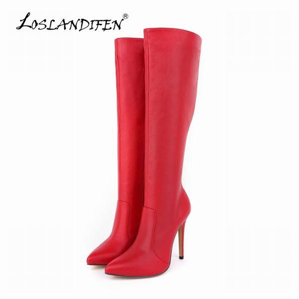 Atacado-LOSLANDIFEN Womens plataforma matte de salto alto de couro joelho largo esticar botas de inverno outono sapatos EUA tamanho 4-11 769-3MA