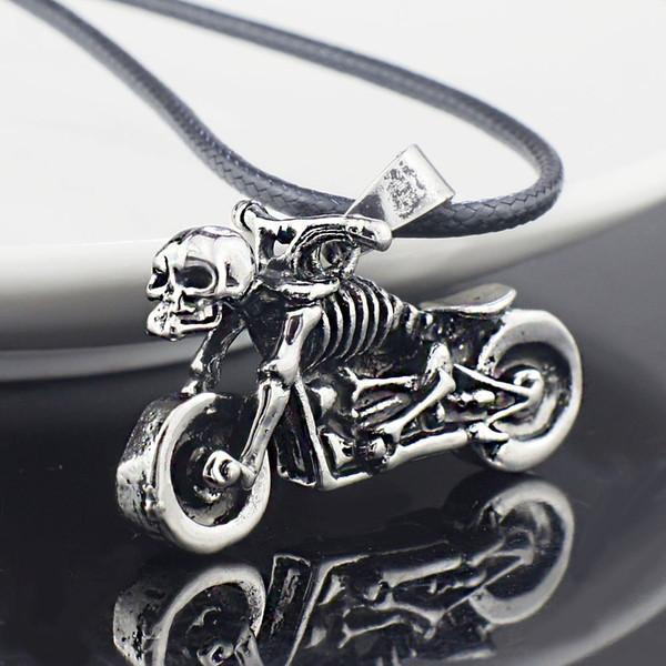 Toptan-Erkek Gotik Punk İskelet Motosiklet Titanyum Paslanmaz Çelik deri zincir Kolye Kolye X545