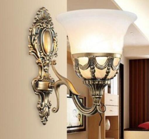 single wall lighting bed room wall lamps glass shade wall sconces mirror lighting antique bronze